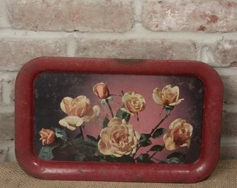Vintage Shabby Chic Serving Tray Rusty Red Metal with Roses