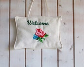 Welcome door hanger, embroidered door hanger, welcome hanger, hungarian folk embroidery