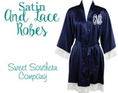 Set of 5 Satin and Lace Bride and Bridesmaids Robes- Blank or Personalized Short Kimono Wedding Robes
