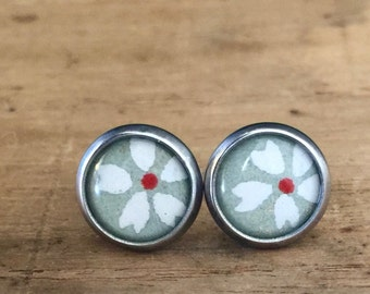 15%OFF VALENTINE SALE Japanese Washi chiyogami tiny stud post earrings stainless steel with beautiful Free gift box Cute
