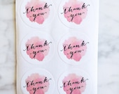Watercolour Thank You label sticker - 24 pieces - 3.8cm round enveolpe seal - wedding invitation