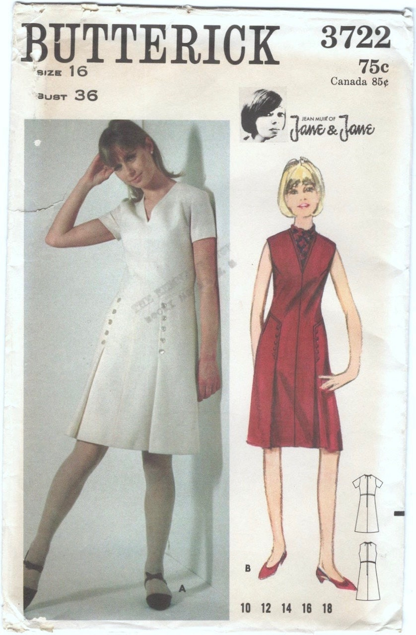 1960s Jean Muir of Jane & Jane dress pattern Butterick 3722