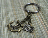 Pirate Keychain, Anchor and Chain Pirate Flag Charms, Caribbean Pirate, Gift For Men, Captain's Accessories, by Life is the Bubbles