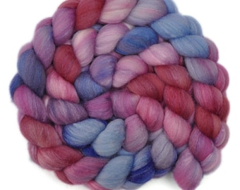 Hand dyed roving - Silk / Polwarth 40/60% wool roving - 4.0 ounces - Weathervane 2