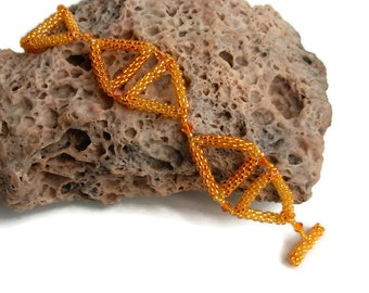 Orange Triangles Seed Bead and Crystal Bracelet / Geometric Jewelry
