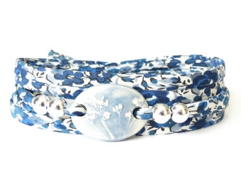 Girls 18th birthday gift, textured clay connector bead bracelet, blue and white wrap bracelet, handmade artisan jewellery, UK bracelet shop