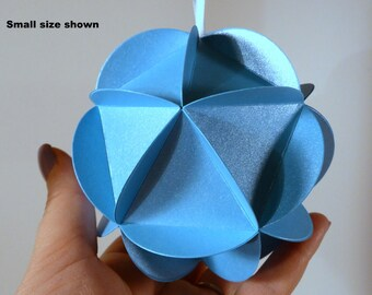 Shimmer Blue Paper Globe Ornament, DIY kit, Wedding decor, Geodesic sphere party decoration, 3d ball ornament