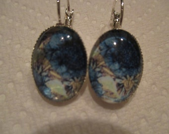 Blue Floral Oval Glass Earrings