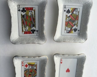 Playing Card Porcelain Trays Ace of Hearts King of Diamonds Queen of Spades Jack of Clubs White Candy Trinket Nut Dish Vintage