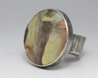 Willow Creek Jasper Ring, Jasper & Sterling Ring, Round Jasper Ring, Statement Ring, Unisex, Size 7