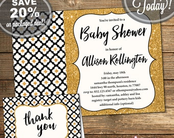 Baby Shower Package, Invitation, Thank You Card, Gender Neutral, Black, Gold Glitter, Flowers, Geometric, Printable File (INSTANT Download)