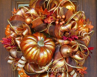 COPPER PUMPKIN FALL Wreath