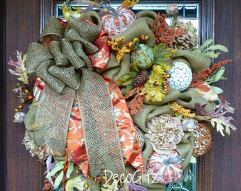 FALL BURLAP Wreath with Pumpkins, Gourds and ELEGANT Bow