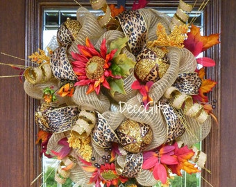 Fall or Thanksgiving Small Wreath with SUNFLOWERS and LEOPARD Ribbon, Fall or Thanksgiving CENTERPIECE with Sunflowers and Leopard Ribbon
