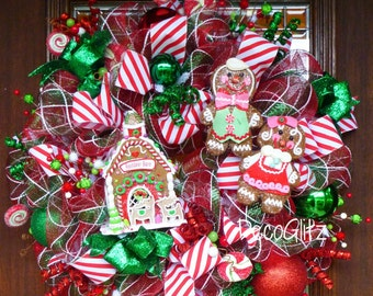 Whimsical GINGERBREAD HOUSE WREATH with a Cute Gingerbread Man and Gingerbread Girl