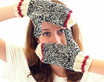 Sock Monkey Mittens - easy knitting pattern in PDF - instant download