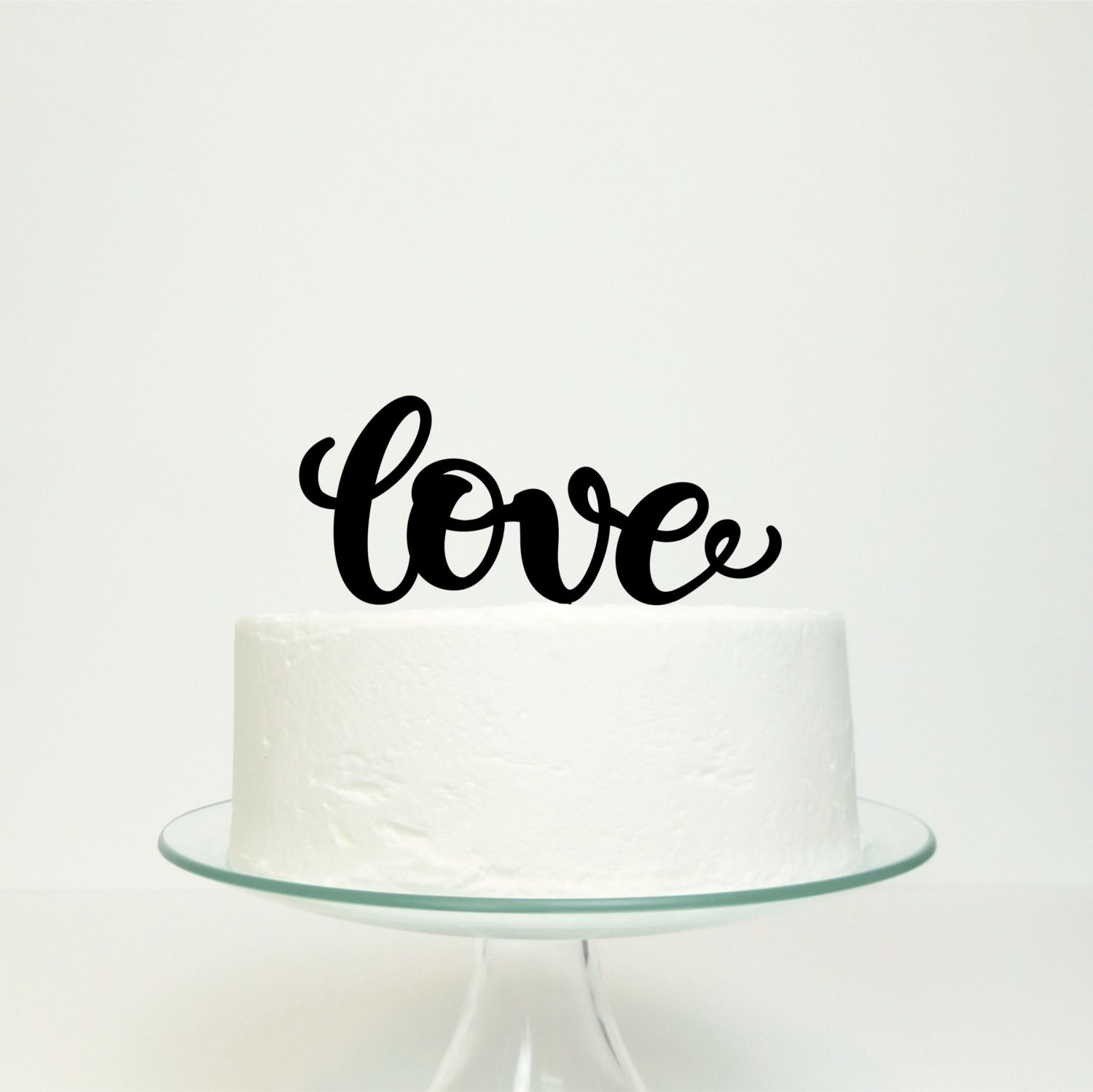 Calligraphy Style Love Wedding Engagement Party Cake Topper