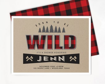 Baby Boy Shower Invitation - Buffalo Plaid, Buffalo Check, Lumberjack Party, Rustic Invite, Woodland Printable