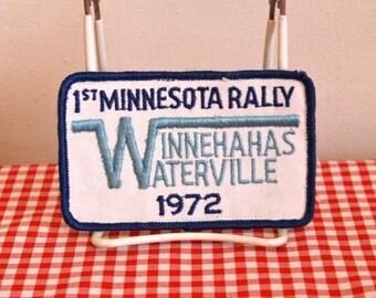 vintage 1970s iron on patch - '1st MINNESOTA RALLY' Winnehahas Waterville 1972