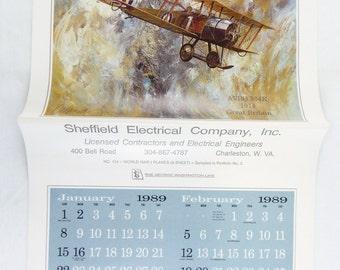 Vintage 1989 2017 Jerome Biederman World War One Fighter Planes Calendar