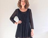 Vintage 70's Mini Dress / Mesh Lace Corset Dress S