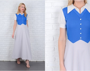 Vintage 70s Blue + White Mod Dress Color Block Striped Puff Slv A Line Maxi S 6407 vintage dress blue dress white dress mod dress maxi dress