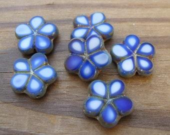 Dark Blue Picasso Table Cut Flower Beads 17mm Opaque Czech Glass New (6)