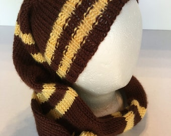 Stocking Cap Handknitted Brown with Gold Stripes Super Soft 43 inches long