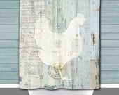 Shower Curtain and More - Farmhouse Chicken Rustic Vintage Look Americana | See Dropdown for Pricing and Matching Decor Options