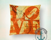 Philadelphia LOVE Throw Pillow | Orange Philly Map Hometown Decor | Indoor or Outdoor Accent Decor