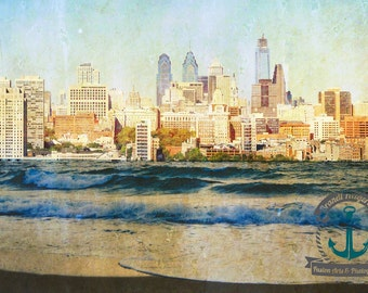Philly Cityscape Meets Jersey Shore Surrealist Wall Art Landscape Photography | At Checkout, Choose Lustre Print or Gallery Wrapped Canvas