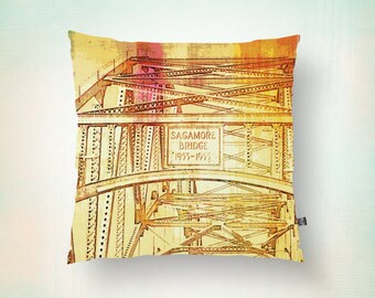Sagamore Bridge Throw Pillow Cape Cod Industrial Colorful Modern Decor Product Sizes and Pricing via Dropdown Menu