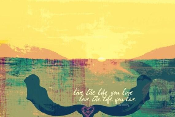 Love the Life you Live Bob Marley Lyrics Mermaid Fusion Art Product Options and Pricing via Dropdown Menu