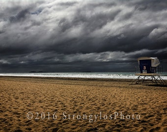 beach photography, sand and waves, lifeguard tower, cloudy sky, Imperial Beach, California, StrongylosPhoto