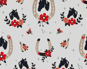 Buttermilk Cream Horses From Birch Organic Fabric's Tall Tale Collection