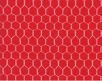 Chicken Wire on Tractor Red from Moda's Farm Fun Collection by Stacy Iset Hsu