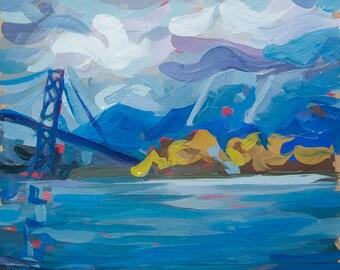 """Original Artwork // Lionsgate Bridge (Vancouver no. 55) // 7"""" x 7"""" // Acrylic Painting on Paper"""