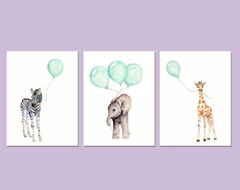 Mint nursery prints, animal print set, set of nursery prints, 8 X 10 inch, safari animals, elephant nursery art, mint balloons, mint green