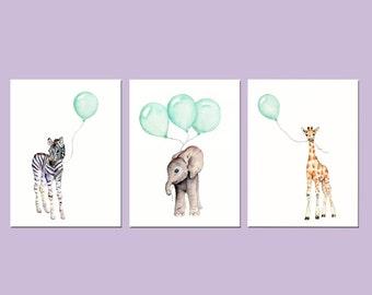nursery decor, Mint nursery prints, animal print set, nursery prints, safari animals, elephant nursery art, mint balloons, mint green decor