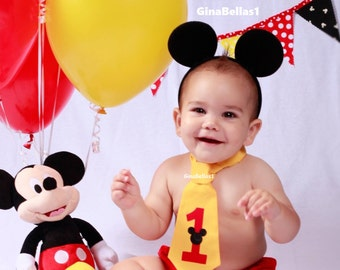 Mickey Mouse Birthday cake smash costume outfit I am one #1 necktie first tie baby diaper cover FREE EARS 6 9 12 18 24 toddler GINABELLAS1
