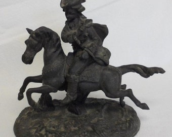 Sale Antique Spelter Metal Art Figurine Sculpture/Statue (Paul Revere on a Horse) Home Decor