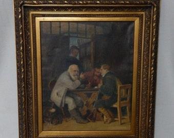 Sale Antique German Old Master Style European Genre Oil Painting Art Tavern Scene Gold Baroque Frame