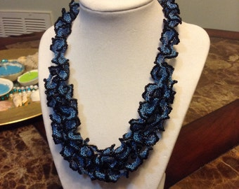 Black and blue ruffled necklace