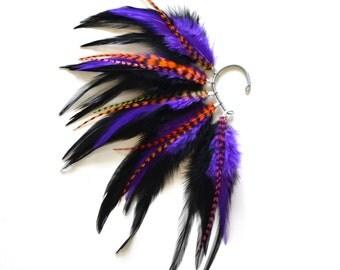 Feather Ear Cuff, Ear cuff, Feather Earrings, Halloween, Festival, Feather Ear Wrap, Festival Earings