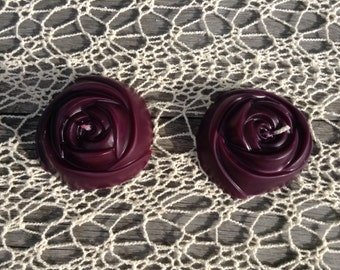 Hand-poured Plum Rose Candles (Set of 2)
