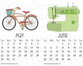2016 Illustrated Calendar Printed on 8.5 x 5.5 Bristol Paper