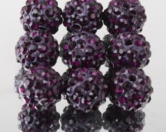 20 pcs 10mm Dark Purple Swarovski Crystal Pave Disco Ball Spacer Charm Beads