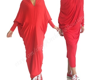 Red maxi dress /Women's maxi dress/ Convertible long dress/ Plus size dress/ Loose tunic dress/ Long sleeved maxi dress/ Caftan/ Kaftan ENVY