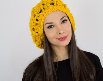 Slouchy Crochet beanie cap knit hat beret mustard yellow gift for her fall winter accessories