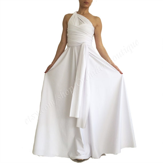 Beach Wedding Dress Convertible Infinity Pregnancy Maxi Long Maternity White